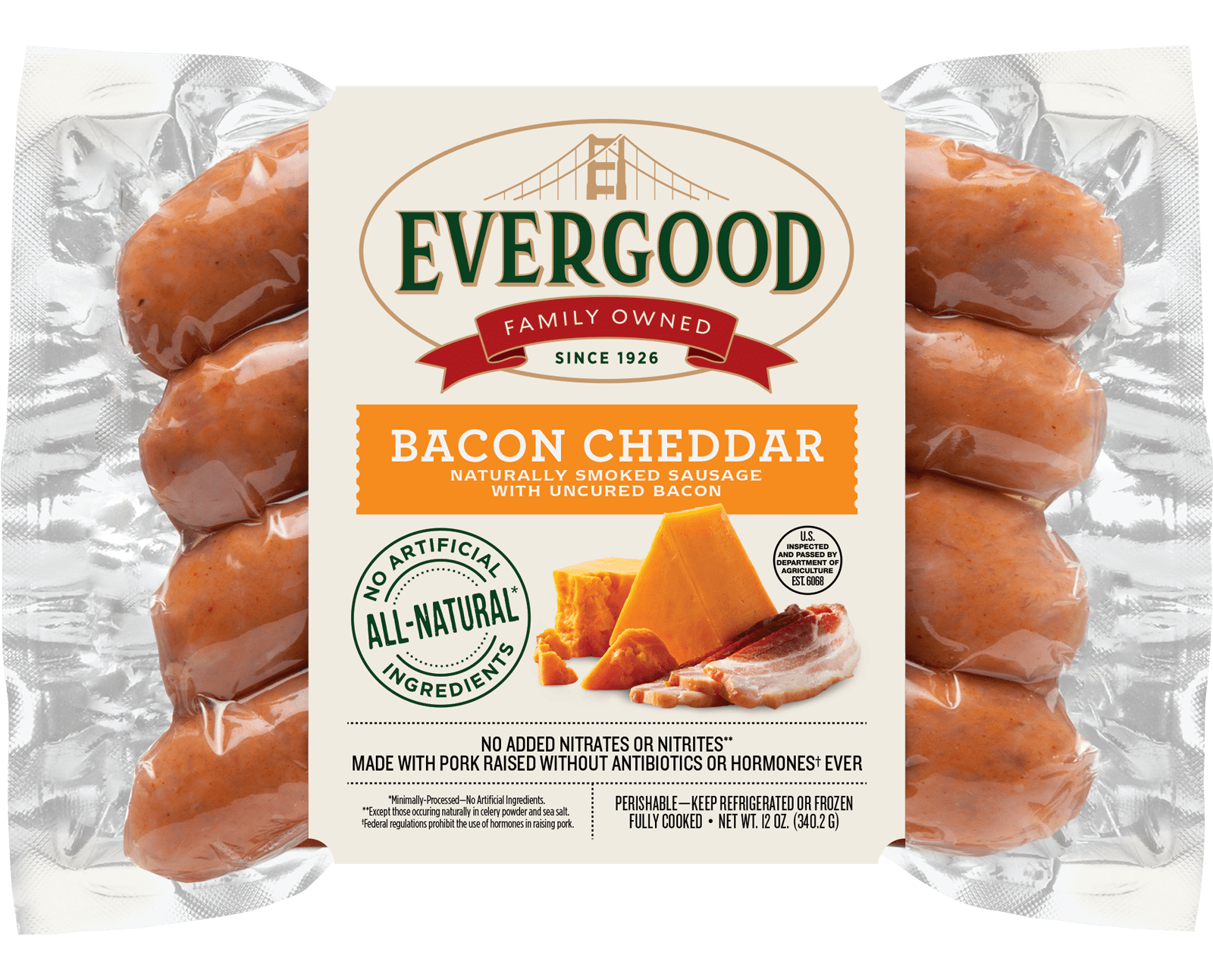 Product Photo: All-Natural Bacon Cheddar Sausage